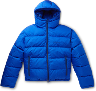Slim-fit Quilted Padded Ripstop Hooded Jacket - Blue