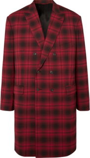 Oversized Double-breasted Checked Woven Coat - Red