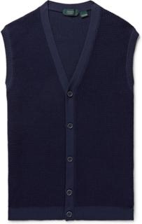 Slim-fit Waffle-knit Sweater Vest - Blue