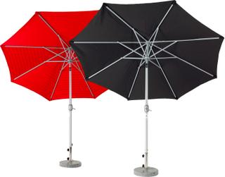 Aluminiumparasoll parasoll Silver/röd 3 m