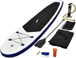 vidaXL Oppblåsbare SUP-brettsett blå og hvit