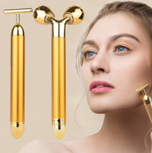 2-IN-1 Beauty Bar 24k Golden Pulse Facial Massager 3D Roller Electric Sonic Energy and T Shape Arm Eye Nose Head Massager