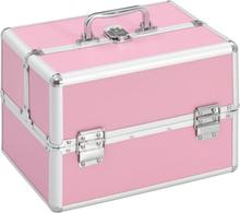 vidaXL Sminkeveske 22x30x21 cm rosa aluminium