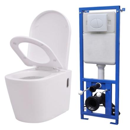 vidaXL Vegghengt toalett med skjult sisterne hvit keramikk