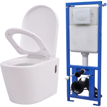 vidaXL Vägghängd toalett med dold cistern keramik vit