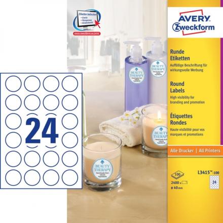 Etiket Avery L3415 runde Ø40mm 24stk/ark 100ark/pak