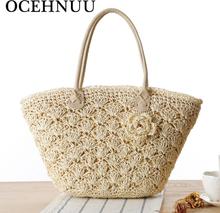 OCEHNUU 2020 Summer Beach Bag Straw Large Zipper Woven Straw Handbags Casual Big Shoulder Bag Women Flowers Ladies Tote Bag