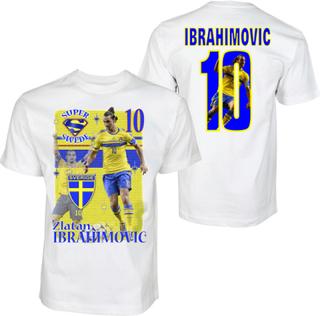 Zlatan ibrahimovic sverige t-shirt med tröja tryck fram &bak