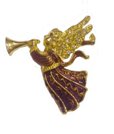 Brosch ängel emalj och strass söt smycke skyddsängel
