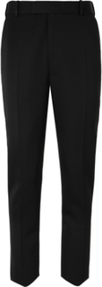 Black Slim-fit Wool Tuxedo Trousers - Black