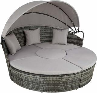 Rund daybed i polyrattan Santorin grå