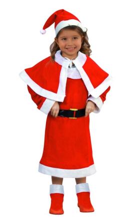 Jultomteklänning med tomteluva för barn 98 - 115 cm (3 - 4 år)