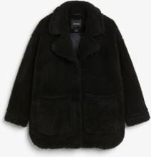 Oversized faux shearling coat - Black