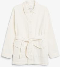 Belted corduroy jacket - White