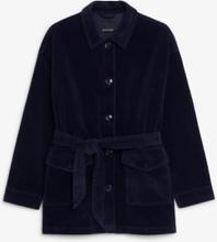 Belted corduroy jacket - Blue