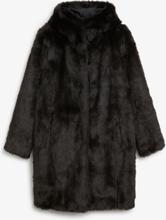 Hooded faux fur coat - Black