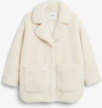 Oversized faux shearling coat - White