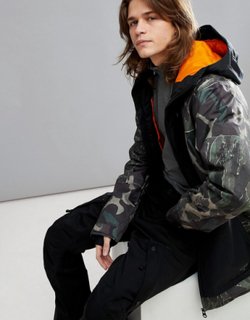 Billabong Fuze Overhead Snow Jacket in Camo - Green