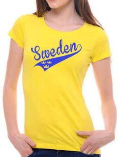 Dam sweden swosh stil t-shirt med 3 kronor