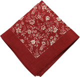 Atlas design - red flowers näsduk - 100% linne