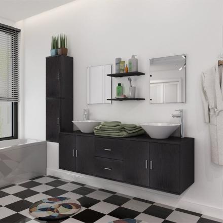 vidaXL sæt med badeværelsesmøbler m/håndvask + vandhane 11 dele sort
