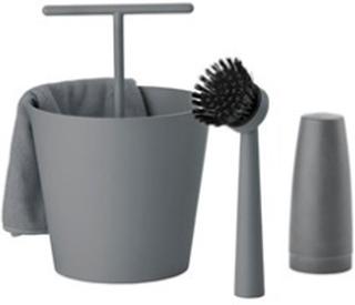 Zone Denmark Opvaskes?t - Cool Grey - 4 deler - S?t - Bucket - ABS - D 15,0cm - H 24,0cm - Gave?ske Zone Denmark