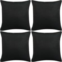 vidaXL Kuddöverdrag 4 st linne-design 40x40 cm svart