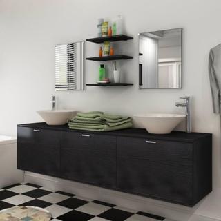 vidaXL sæt med badeværelsesmøbler m/håndvask + vandhane 10 dele sort