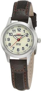 Timex Expedition creme Dial brun læder stof læderrem Watch (Model n...
