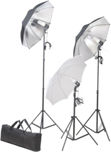 vidaXL Studiobelysning med stativ & paraply 24 W
