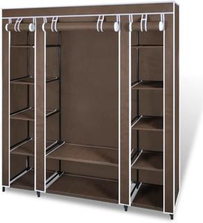 vidaXL Garderobeskap med rom og stenger 45x150x176 cm brun stoff