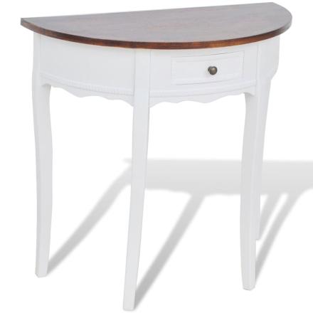 vidaXL Konsolbord med låda och brun bordskiva halvrund