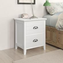 vidaXL Sängbord 2 st med 2 lådor vit