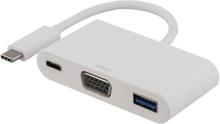 Deltaco USB-C till VGA och USB Typ A adapter, USB-C ho, 60W, vit