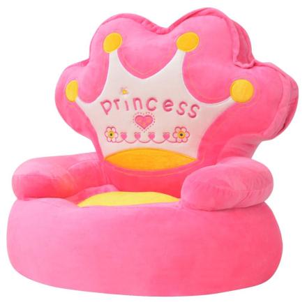 vidaXL Plysj Barnestol Prinsesse Rosa