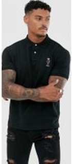 Polo Ralph Lauren regular fit bear emboridered polo in black - Polo black