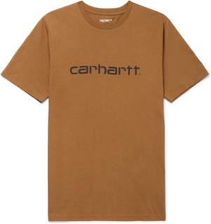 Carhartt WIP - Logo-print Cotton-jersey T-shirt - Brown - XS,Carhartt WIP - Logo-print Cotton-jersey T-shirt - Brown - S,Carhartt WIP - Logo-print Cotton-jersey T-shirt - Brown - M,Carhartt WIP - Logo-print Cotton-jersey T-shirt - Brown - XL,Carhartt WIP