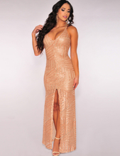 Slit Front Sequins Backless Dress
