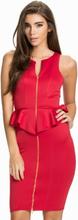 Front Zip Peplum Dress