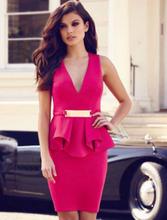 Rose Red Bar Trim Peplum Dress
