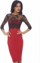 Red Crochet Shoulder Swing Dress