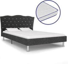 vidaXL Säng med memoryskummadrass mörkgrå tyg 140x200 cm