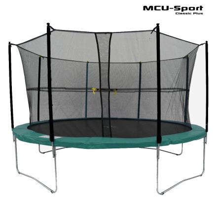 MCU-Sport Classic Plus 4,3m Trampolin + Sikkerhedsnet, Grøn