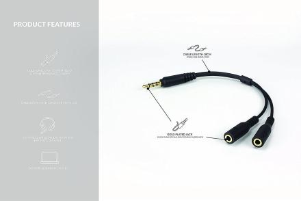PC-hodesettet Adapter, omformer å Xbox en PS4 Talkback gullbelagt
