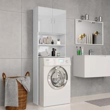 vidaXL vaskemaskineskab højglans 64 x 25,5 x 190 cm spånplade hvid