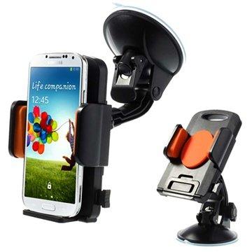 Universal smartphone / tablet holder med stærk sugekop - Orange / Sort