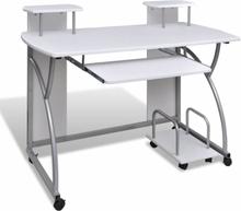 vidaXL Skrivbord för stationär dator vit