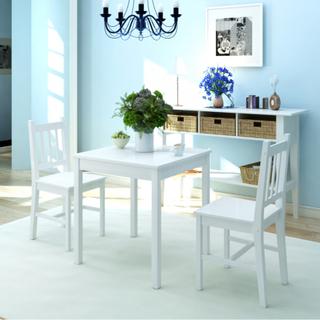 vidaXL spisebordssæt i fyr, hvid, 3 dele