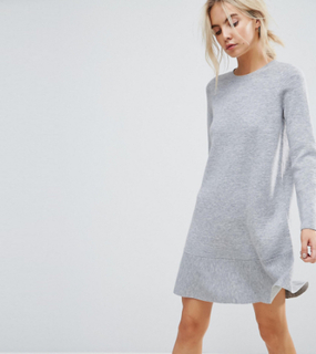 ASOS PETITE Knitted Dress with Frill Hem - Grey