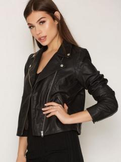 Selected Femme Slfmarlen Leather Jacket B Noos